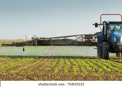 Chemical treatment with agricultural machines before spraying.
