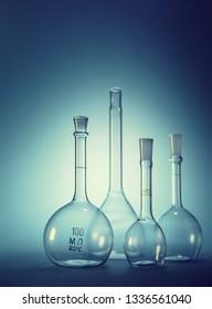 chemical utensils, beakers on a blue background, backlight