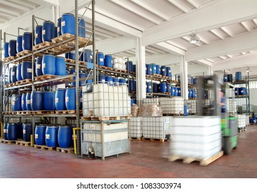 chemical warehouse with a forklift