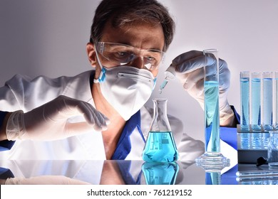 Chemical worker equipped with protective elements testing different substances behind a laboratory table.