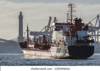CHEMICAL/OIL PRODUCTS TANKER -  Merchant ship is sailing along waterway to the port of Swinoujscie