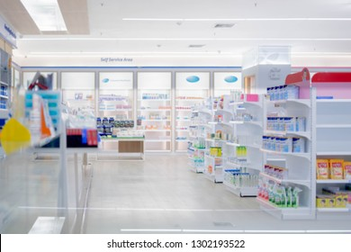 At the chemist, Medicines arranged in shelves, Pharmacy drugstore retail Interior blur abstract background with medicine healthcare product on glass cabinet with neon light.