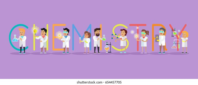 Chemistry banner. Science alphabet. ABC  with scientists at work. Simple colored letters and scientist character. Scientific research, science lab, science test, technology illustration in flat