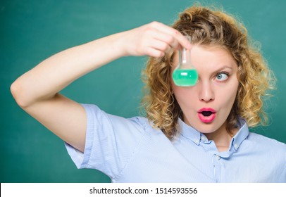 chemistry classroom. scientist at school lab. school lesson. chemistry research results. surprised student with beaker. biology experiment. sample formula. girl hold chemical flask with liquid.