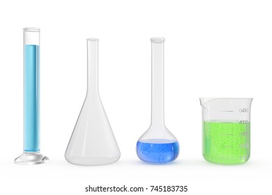 Chemistry flasks with colored liquid on white background background. Science chemistry concept. Laboratory test tubes and flasks with colored liquids 3D rendering
