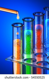 Chemistry of the future. chemical reagents. Hi-res 3d rendering.