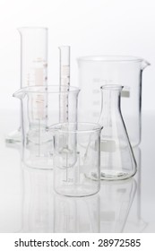 Chemistry glass set on the white table