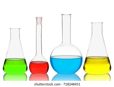 Chemistry glassware isolated on white background
