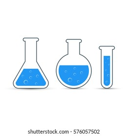 Chemistry icon set. Stock illustration of icon beaker. Raster copy.