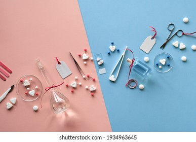 Chemistry of love. Creative flat lay, top view with chemical glassware, petri dishes, love molecules, sugar hearts, scissors, forceps, love potions. Two tone pink blue background, gender issues.