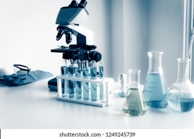 Chemistry microscope in laboratory research room.