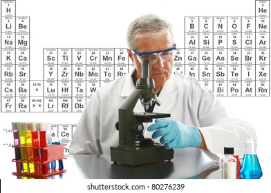 Chemistry, Science, Medical, Education - a medical research scientist or chemist works on a cure for something to help mankind. isolated on white with room for your text. periodic table in background