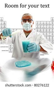 chemistry, science, medical - a medical research scientist or chemist mixes various chemicals to create a violent reaction in a laboratory.  isolated on white with room for your text.