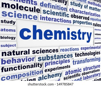 Chemistry scientific poster. Education technological words background