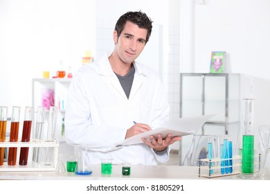 Chemistry student performing a series of tests