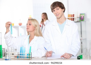 Chemistry students making notes