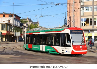 CHEMNITZ, GERMANY - MAY 8, 2018: City-Bahn Chemnitz (CBC) electric tram in Chemnitz, Germany. Chemnitz is the 3rd-largest city in the Free State of Saxony (Germany).
