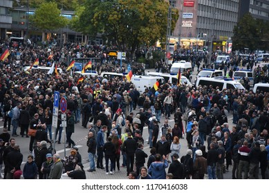 Chemnitz, Germany - September 01, 2018: Afd demonstration Trauermarsch