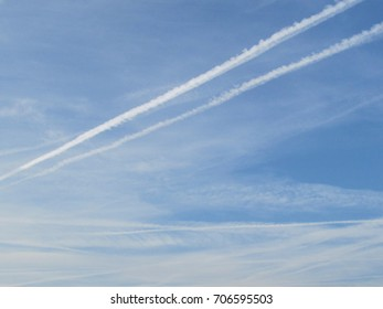 Chemtrails pollution in the blue sky