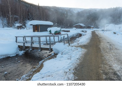Chena Hot Spring on the top of mountain during winter in Alaska, USA