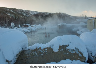 Chena Hot Spring on the top of mountain in Alaska during winter