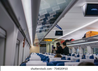 CHENGDU, CHINA - 24 October 2017 : The view inside CRH (China High Speed) train at Chengdu East Railway Station in Chengdu China. Tourist are keep their luggage once arrival.