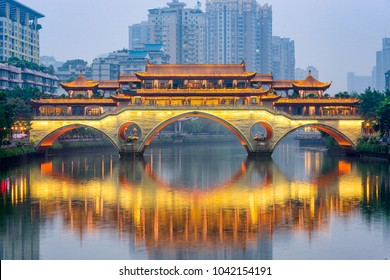 Chengdu, China at Anshun Bridge over the Jin River.