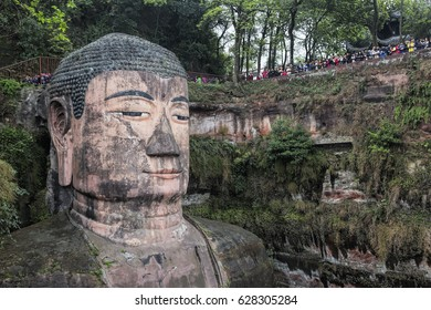 Chengdu China, April 03, 2017 The Leshan Giant Buddha is a 71-meter, 233 ft stone statue. Built between 713 and 803 during the Tang Dynasty Sichuan province in China, near the city of Leshan.