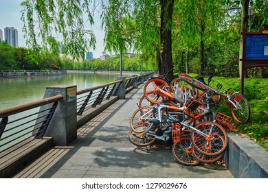 CHENGDU, CHINA - APRIL 15, 2018: Mobike bikes for share parked in Chengdu, Sichuan, China