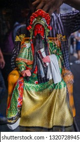 Chengdu, China - Aug 20, 2016. Guan Yu doll at Jinli Ancient Street in Chengdu, Sichuan. Jinli was one of the busiest commercial areas during the Shu Kingdom (221-263).