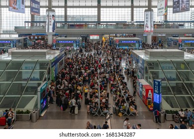Chengdu, China - Aug 30, 2019: Passengers in Chengdu East railway station in China. It is a major railway station in Chengdu, the capital of Sichuan province in China.