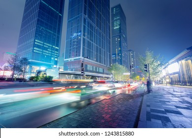 Chengdu, China, city night road, car light trails