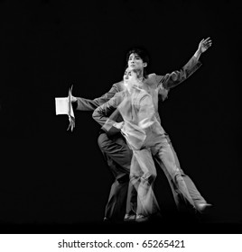 """CHENGDU, CHINA - DEC 20: Beijing Dance Academy perform Solo dance """"Poem of long river"""" at Jincheng Theater in the 7th National Dance Competition of China on Dec 20, 2007 in Chengdu, China."""