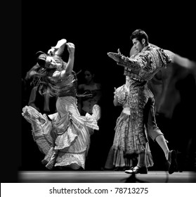 CHENGDU, CHINA - DEC 28: Unidentified Spanish dancers perform the Flamenco Dance onstage at Jinchen Theater on Dec 28, 2008 in Chengdu, China.