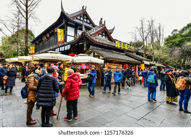 Chengdu, China - December 9, 2018: Shopper and stores at Jinli Ancient commercial street is one of the most famous tourism in Chengdu old street of China where full of retro Chinese.