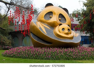 CHENGDU, CHINA- FEBRUARY 2, 2017:A sculpture of Pandas is seen at the Chengdu Research Base of Giant Panda Breeding, a non-profit research and breeding facility for giant pandas and other rare animals