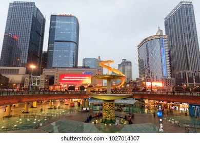 CHENGDU, CHINA- FEBRUARY 4, 2017: Sklyline of modern buildings are seen around Tianfu square at dusk.