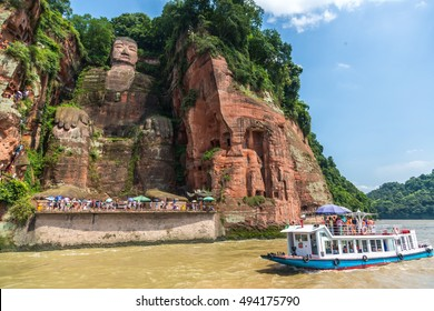 Chengdu, China - July 14th. 2016 - The biggest buddha in the world, carve in the mountains of Leshan, 2hrs driving from Chengdu in China.