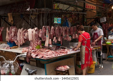 Chengdu, China, July 2, 2019: meat market in the street of Chengdu, China. July 2, 2019 in Chengdu, China.