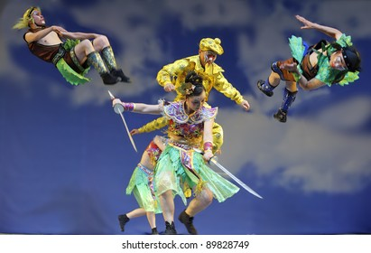 CHENGDU, CHINA - JULY 23: Chinese opera actors perform traditional drama onstage at Arts Academy theater of Sichuan on July 23, 2010 in Chengdu, China.
