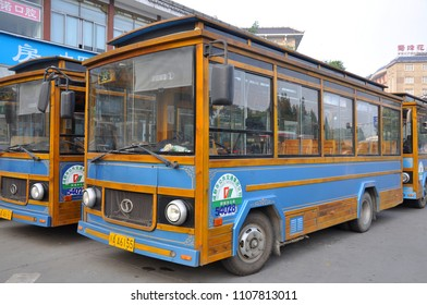 CHENGDU, CHINA - JUN, 22, 2012: Modern Transit Bus near Wuhou Temple Wu Hou Ci in old city of Chengdu, Sichuan Province, China.