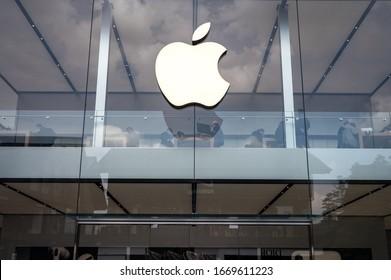 CHENGDU, CHINA - MAR 10, 2020: Apple  Store with main signage.
