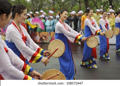 CHENGDU, CHINA - MAY 29: North Korean Pyongyang folk dancers perform in the 3rd International Festival of the Intangible Cultural Heritage.May 29, 20011 in Chengdu, China.