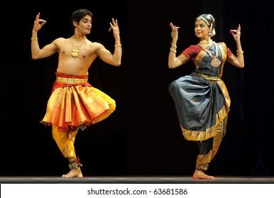 "CHENGDU, CHINA - OCT 24: Indian folk dance ""Shankara Sri Giri"" performed by Kalakshetra dance institute of India at Jincheng Theater during the festival of India in China on Oct. 24, 2010 in Chengdu, China."