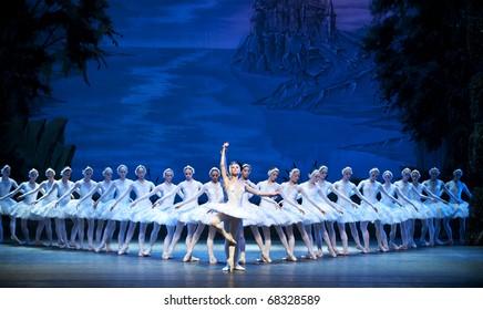 CHENGDU, CHINA - OCTOBER 2: Russian national ballet perform Swan Lake ballet at Jincheng art theater October 2, 2010 in Chengdu, China