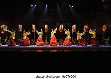 CHENGDU, CHINA - SEPT 28: Korean ethnic dancers perform on stage in the 6th Sichuan minority nationality culture festival at JINJIANG theater on Sept. 28, 2010 in Chengdu, China.