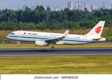 Chengdu, China - September 22, 2019: Air China Airbus A320 airplane at Chengdu Airport (CTU) in China. Airbus is a European aircraft manufacturer based in Toulouse, France.