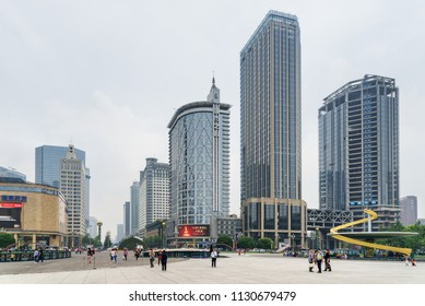 Chengdu, China - September 25, 2017: Beautiful view of Tianfu Square and modern high-rise buildings on Renmin South Road in center of Chengdu. Tianfu Square is a popular tourist attraction of Asia.