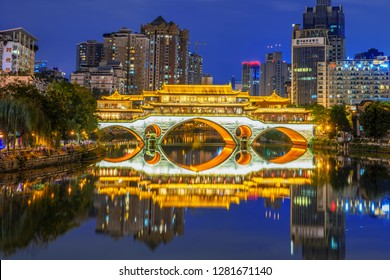 CHENGDU, CHINA - SEPTEMBER 26: This is a night view of Anshun bridge, a famous landmark bridge along the Jinjiang river on September 26, 2018 in Chengdu
