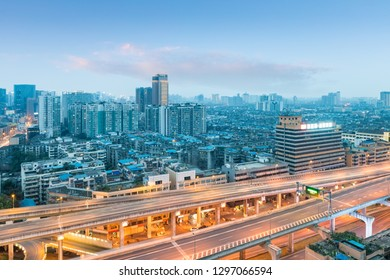 chengdu cityscape in sunset, elevated road in urban area, China